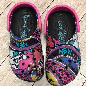 Patricia Field Pink Black rare Graffiti CROCS  8
